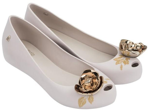 Melissa Women's beige jelly flats with golden flower