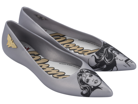 Melissa Women's gold jelly flats with wonder woman theme