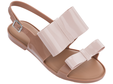 Melissa Women's light pink jelly flats with 2 straps and bows