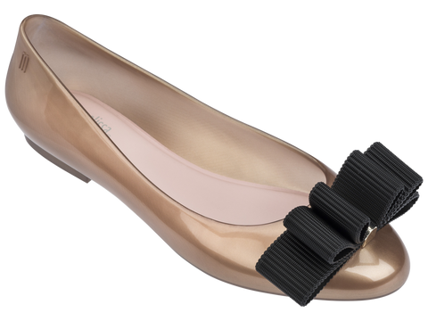 Melissa Women's gold jelly flats with bow