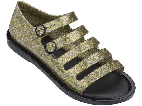 Melissa Women's black and gold jelly sandals with strap