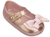 Melissa Kids gold jelly sandals with big bow