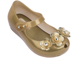 Mini Melissa babies gold jelly flats with 3 flowers