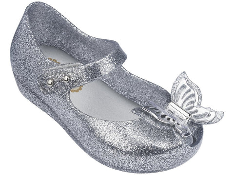 Melissa Kids silver jelly sandals with butterfly decoration