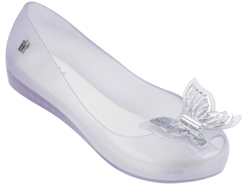 Melissa Kid's white jelly flats with butterfly decoration