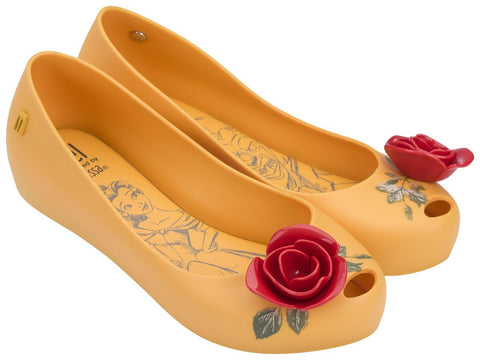 Melissa Kid's yellow jelly flats with red flower