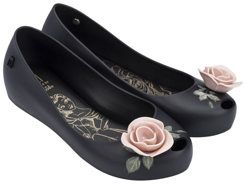 Melissa Kid's black jelly flats with pink flower