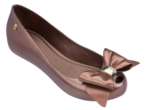 Melissa Kid's rose gold jelly flats with bow
