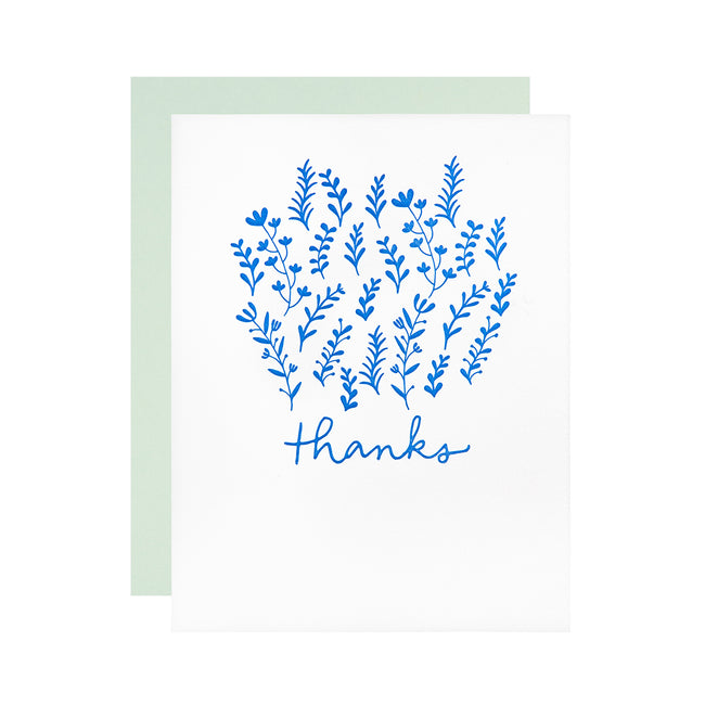 Blue Floral Thank You - Boxed Set of 8