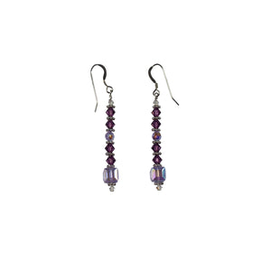 Burgundy and Rose Swarovski Crystal Drop Earrings - Gems from Paradise