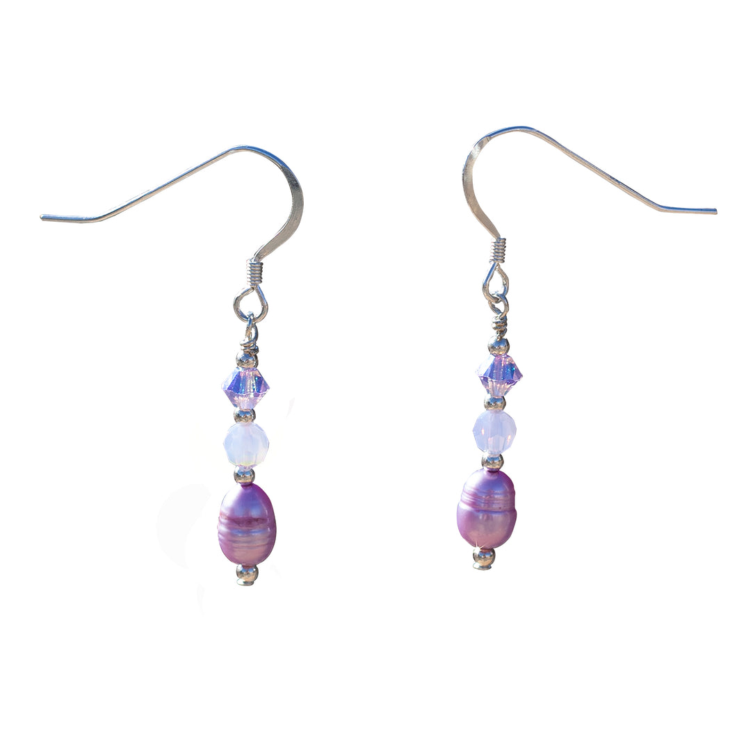 Lilac Freshwater Pearls, Swarovski Crystal and Sterling Silver Earrings - Gems from Paradise