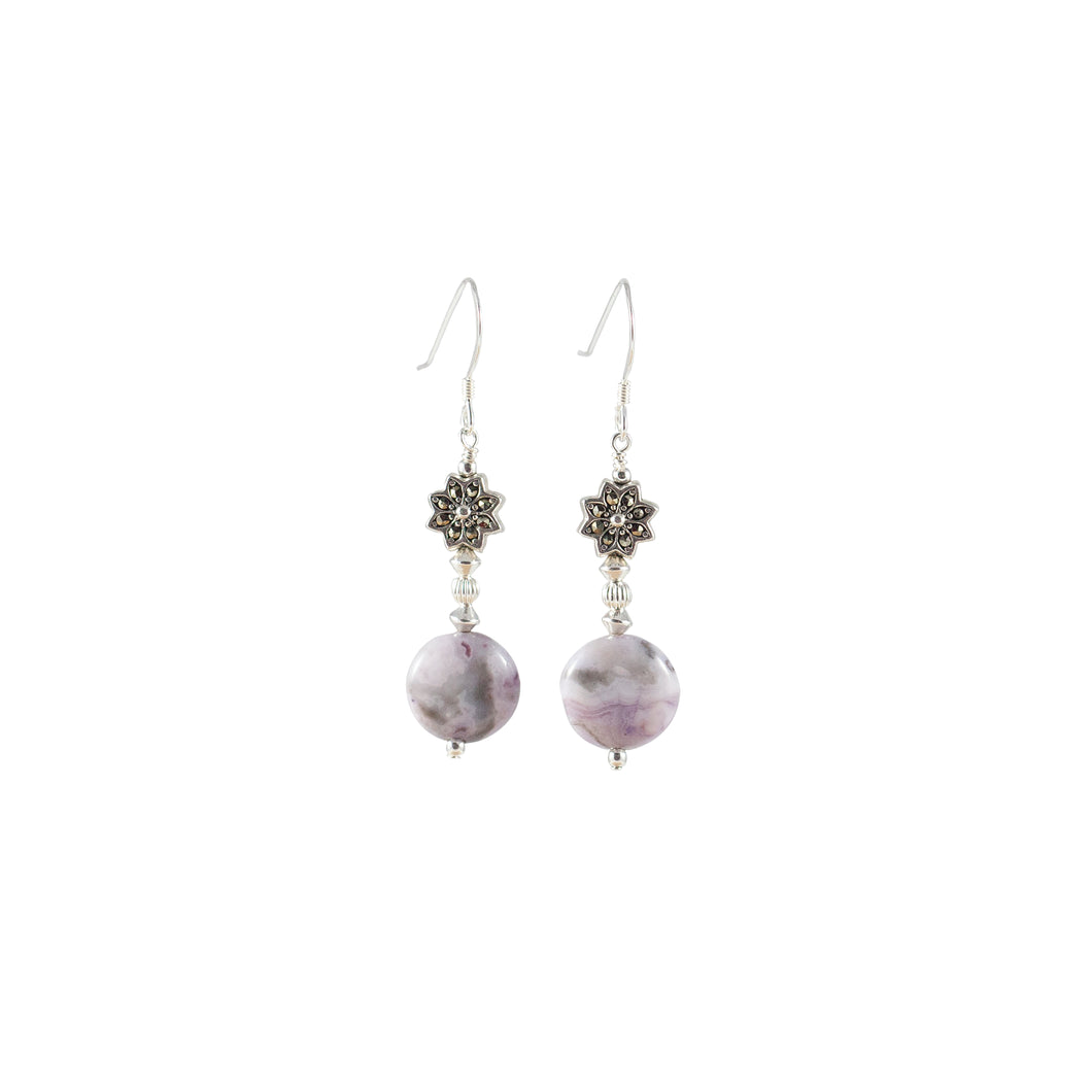 Marcasite, Crazy Lace Agate and Sterling Silver Earrings - Gems from Paradise