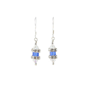 Sapphire Blue Swarovski Crystal Sterling Silver Earrings - Gems from Paradise