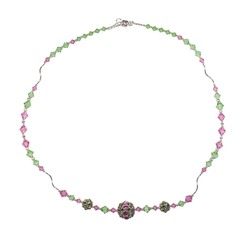 Peridot and Rose Swarovski Crystal and Sterling Silver Necklace - Gems from Paradise