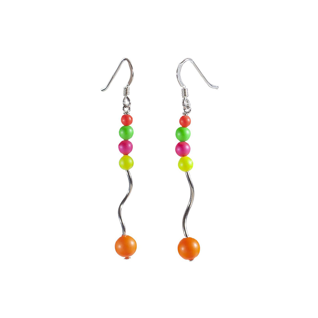 Long Swarovski Multi-Coloured Neon Crystal Sterling Silver Earrings - Gems from Paradise