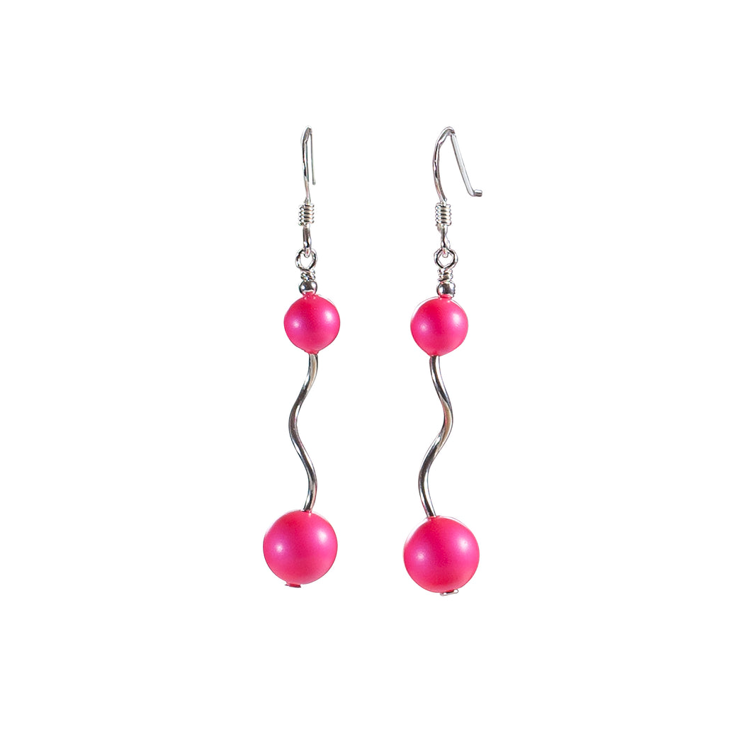 Long Swarovksi Neon Pink and Sterling Silver Earrings - Gems from Paradise