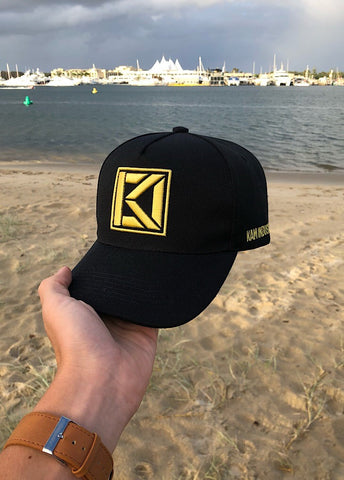 Black / Gold Block Print A-Frame Cap