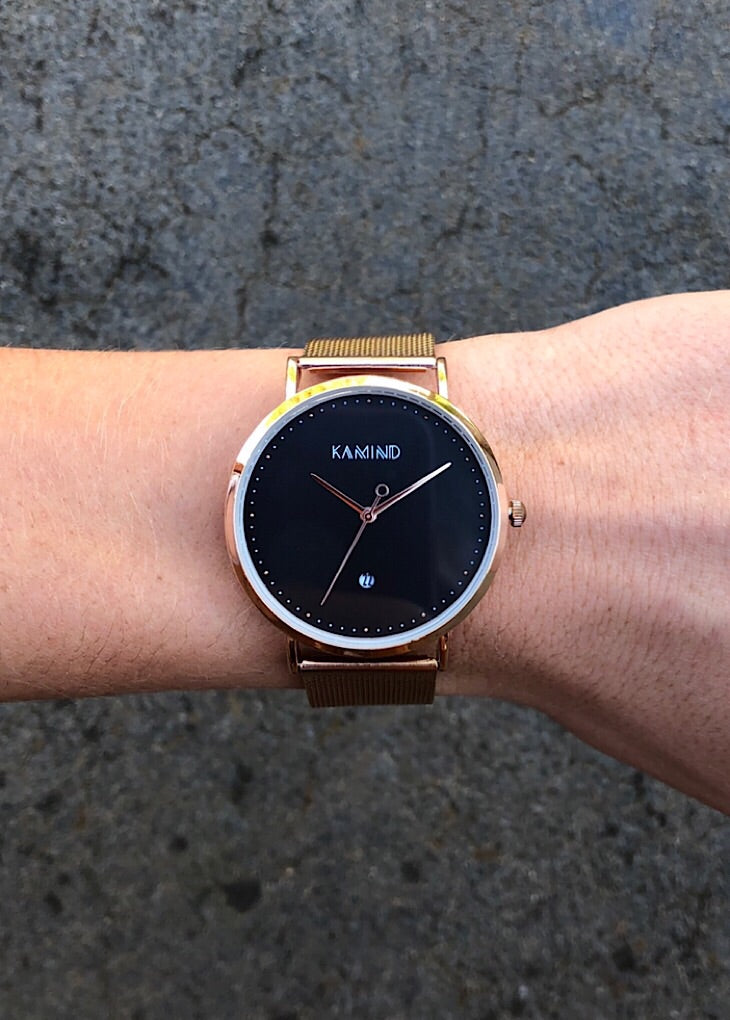 Rose Gold & Black Lux Mesh Watch