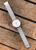 Silver & White Lux Mesh Watch