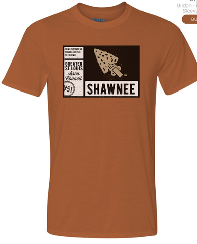 T-Shirt Texas Orange SS Shirt Postcard Design - Shawnee Lodge