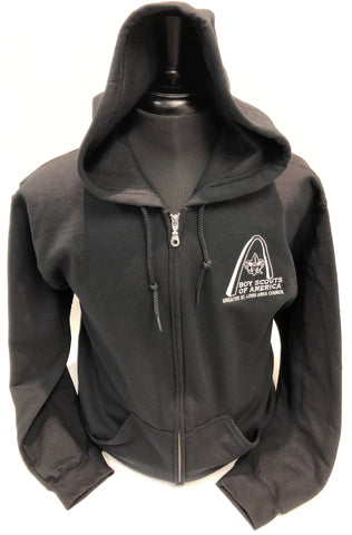 Hoodie Full Zip - GSLAC Arch Embroidered Logo - Men's Black