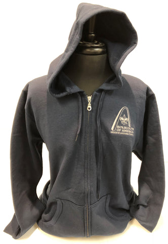 Hoodie Full Zip - GSLAC Arch Embroidered Logo - Women's Navy