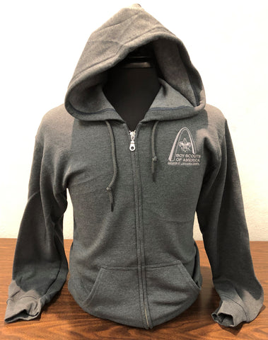 Hoodie Full Zip - GSLAC Arch Embroidered Logo - Men's Dark Heather