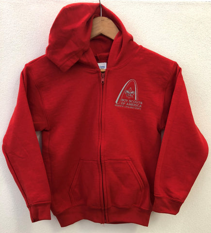 Full Zip Hoodie - GSLAC Arch - Youth Red - Embroidered Logo
