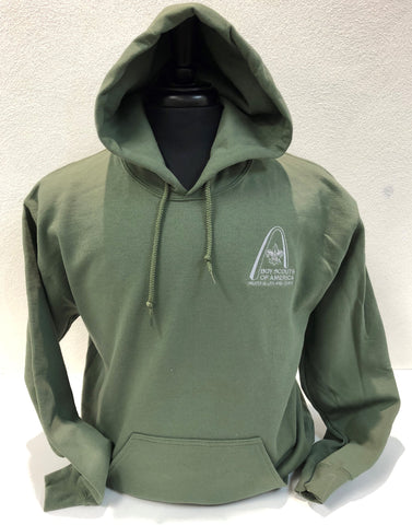 Hoodie - GSLAC Arch - Men's Military Green - Embroidered Logo
