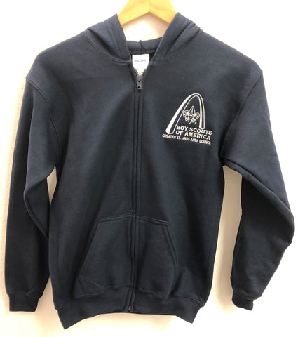 Hoodie Full Zip - GSLAC Arch Embroidered Logo - Youth Navy Blue