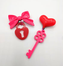 Valentine Heart and Key Brooches