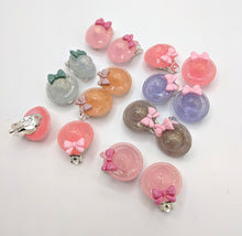 Glitter Bonnet Clip On Earrings
