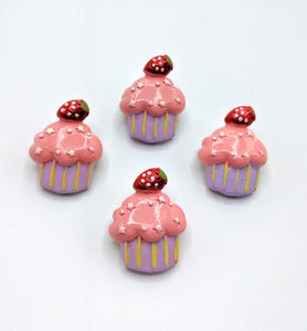 Strawberry Cupcake Brooches