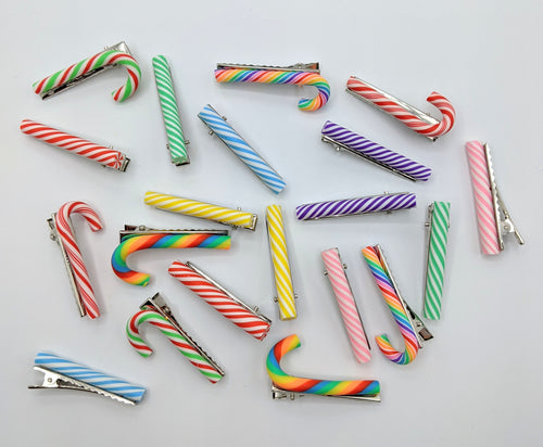 Candy Cane Hair Clips