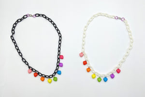Rainbow Heart Bauble Necklaces