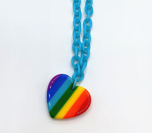 Rainbow Heart Chain Necklaces