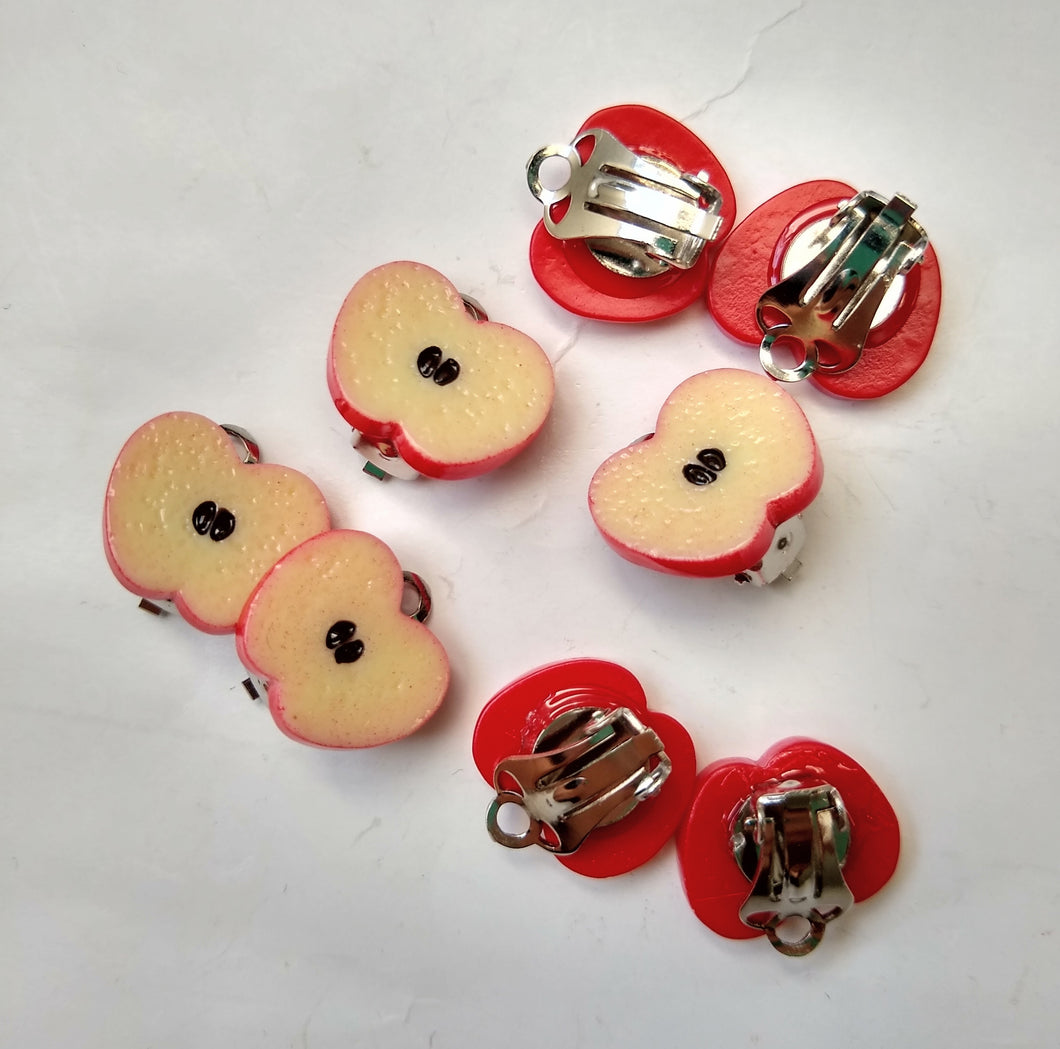 Sliced Apple Clip On Earrings
