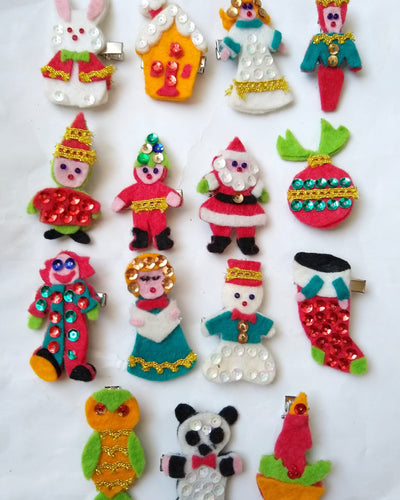 50s Felt Holiday Hair Clips