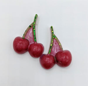 Cherry Resin Hair Clip Piggie Sets
