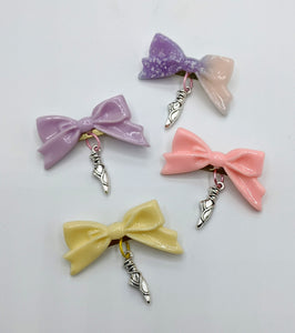 Ballet Slipper Charm Bow Brooch