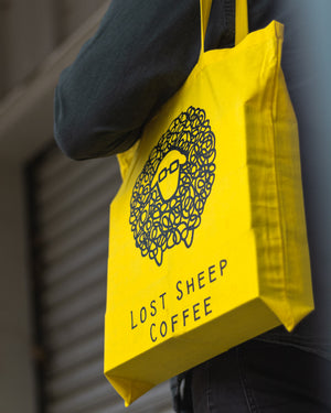 Yellow Tote Time ~ Lost Sheep Coffee Tote Bag