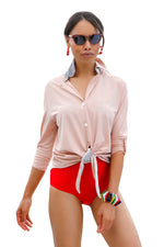 """Beach Boss"" Swim Shirt- Blush & Silver"