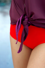 """Beach Boss"" Swim Shirt- Plum"