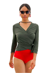 """Surf's Up"" Swim Wrap Top- Army Green"