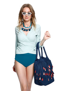 """Surf's Up"" Swim Wrap Top- Mint"