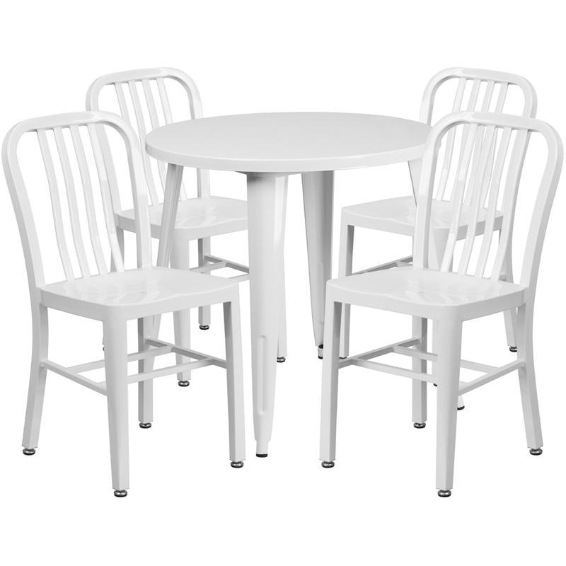 30'' Round White Metal Indoor-Outdoor Table Set with 4 Vertical Slat Back Chairs