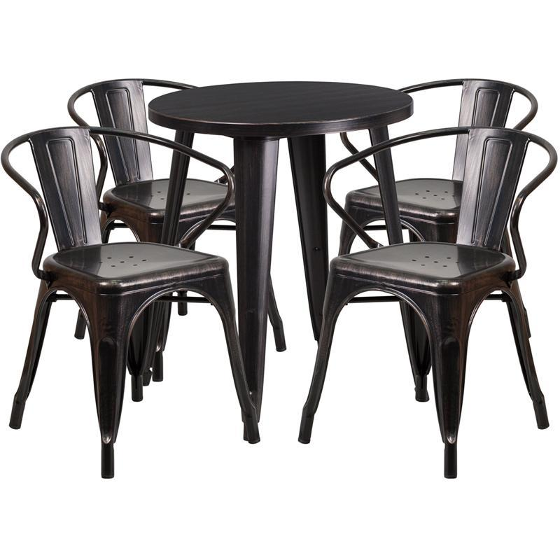 24'' Round Black-Antique Gold Metal Indoor-Outdoor Table Set with 4 Arm Chairs