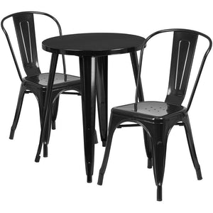 24'' Round Black Metal Indoor-Outdoor Table Set with 2 Cafe Chairs