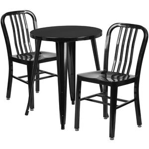 24'' Round Black Metal Indoor-Outdoor Table Set with 2 Vertical Slat Back Chairs