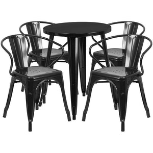 24'' Round Black Metal Indoor-Outdoor Table Set with 4 Arm Chairs